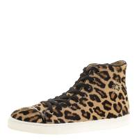 Charlotte Olympia Beige Leopard Print Pony Hair Purrfect High Top Sneakers Size 39.5 135878