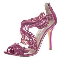 Oscar De La Renta Metallic Pink Leather and PVC Ambria Embellished Peep Toe Sandals Size 39 154397