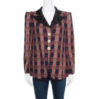Sonia Rykiel Multicolor Checked Printed Cotton and Linen Contrast Collar Blazer M 167263
