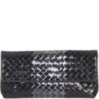 Bottega Veneta Metallic Black Intrecciato Leather Clutch 156924