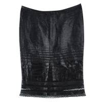 Tom Ford Black Cutout Lace Detail Tiered Pencil Skirt S 112435