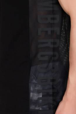 Черная майка с сетчатыми вставками и логотипом Bikkembergs 1487108073