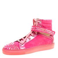 Le Silla Pink Suede And Patent Leather Crystal Embellished Cap Toe High Top Sneakers Size 40 168678