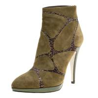 Rene Caovilla Khaki Green Suede Crystal Embellished Boots Size 39 168598