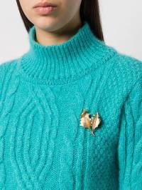 Susan Caplan Vintage - 1960s Vintage Trifari 18kt Gold Plated Brass Brushed Holly Brooch 69655936655090000000