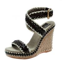 Tory Burch Two Tone Woven Leather Paloma Ankle Strap Espadrille Wedge Sandals Size 36.5 172417