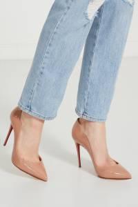 Нюдовые лаковые туфли Hot Chick 100 Christian Louboutin 106101763