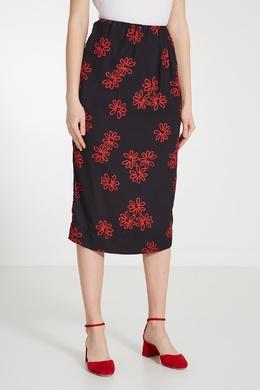Юбка миди с контрастным цветочным мотивом Simone Rocha 250113906