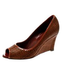 Sergio Rossi Brown Woven Leather Peep Toe Pumps 39 178979