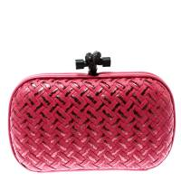 Bottega Veneta Pink Embroidered Intrecciato Leather Knot Clutch 181189