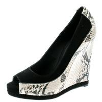 Tory Burch Black Suede and Python Embossed Leather Sandra Wedge Peep Toe Pumps Size 39 182070