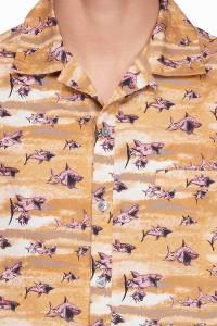 Коричневая рубашка с принтом Lanvin 372118373