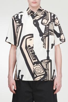 Белая рубашка с контрастным принтом Maison Margiela 1350118680