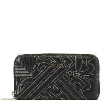 Versace Jeans Black Faux Quilted Leather Zip Around Wallet 181665