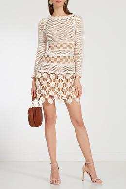 Кружевное платье мини с длинными рукавами Self-portrait 532118357