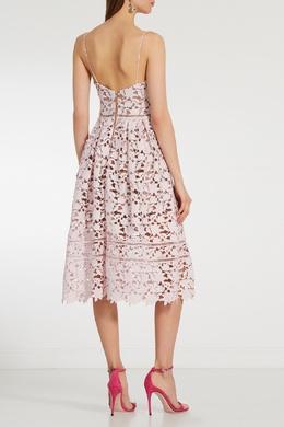 Розовое кружевное платье миди Self-portrait 532118344