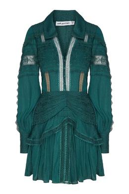 Темно-бирюзовое платье мини Self-portrait 532118335