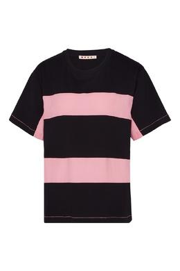 Розово-черная футболка Marni 294118786