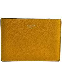 Celine Yellow Leather Gusset Card Holder 181398
