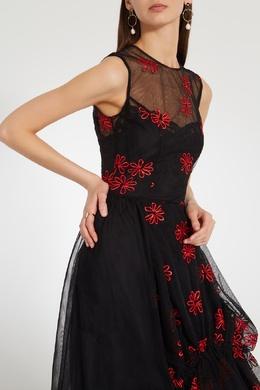 Черное платье из тюля с контрастной вышивкой Simone Rocha 250120650