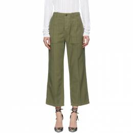 R13 Green Straight Utility Trousers 182021F08700301GB