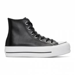 Converse Black Leather Chuck Taylor All Star Lift Clean High Sneakers 192799F12701802GB