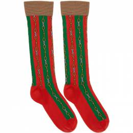 Gucci Green and Red Chain Socks 564894 4G143