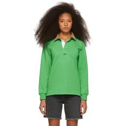 Noah Nyc Green Corduroy Collar Rugby Polo 191876F10800302GB