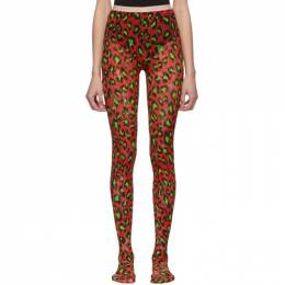 Gucci Red and Green Leopard Tights 564130 3G407