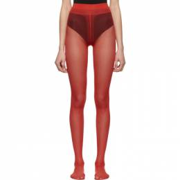 Gucci Red Plain Logo Tights 442779 3G354