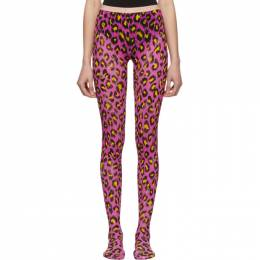 Gucci Pink and Yellow Leopard Tights 564130 3G407