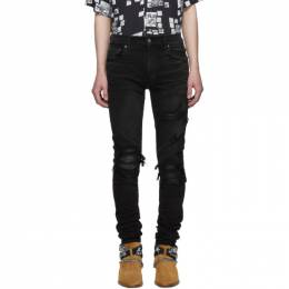 Amiri Black MX1 Leather Patch Jeans 191886M18603903GB