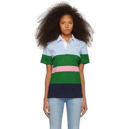Noah Nyc Blue and Green Striped Eddie Polo 191876F10800904GB