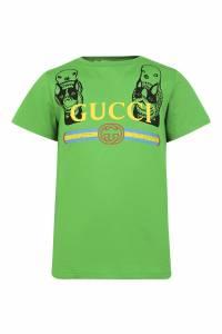 Зеленая футболка Gucci Kids 1256120794
