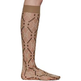 Gucci Beige Jacquard Mesh GG Socks 564139 3GC86