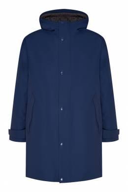 Синий плащ с капюшоном Prada 40121935