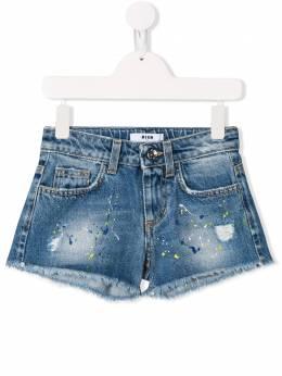 Msgm Kids - джинсовые шорты с принтом 68693583956000000000