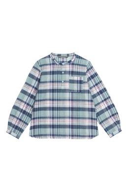 Голубая рубашка в клетку Bonpoint 1210122525