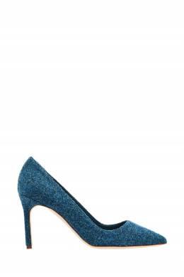 Синие туфли ВВ с шерстяной отделкой Manolo Blahnik 166124135
