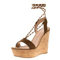 Gianvito Rossi Brown Suede Ankle Wrap Cork Wedge Sandals Size 37.5 192761