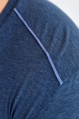 Синяя футболка с отделкой на плечах Canali 1793126651