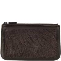 Celine Black Leather and Fur Pouch 129091