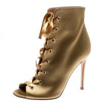 Gianvito Rossi Gold Satin Marie Peep Toe Lace Up Ankle Booties Size 37 193744