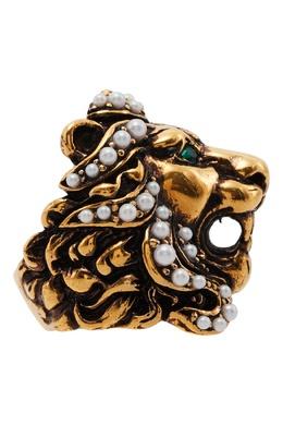 Кольцо в виде львиной головы с жемчугом и кристаллами Gucci 470127345