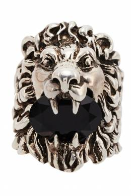 Серебристое кольцо с головой льва Gucci 470127497