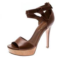 Gianvito Rossi Brown Leather Ankle Strap Platform Sandals Size 36 194351
