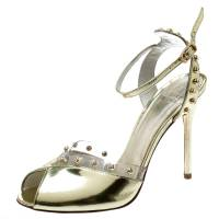 Stuart Weitzman Metallic Gold Patent Leather And PVC Trim Studded Ankle Strap Sandals Size 39.5 194165