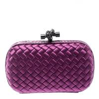 Bottega Veneta Purple Intrecciato Satin and Python Trim Knot Clutch 195072