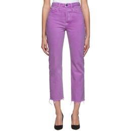 Grlfrnd Purple Mica Crop Jeans 192966F06901002GB