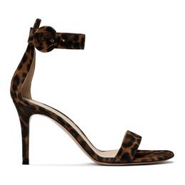 Gianvito Rossi Brown and Black Leopard Portofino Sandals 192090F12500107GB